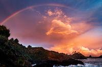 Rainbow Sunset at a Rocky Beach, Northern California Coast