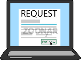 Request payment blank in a notebook screen