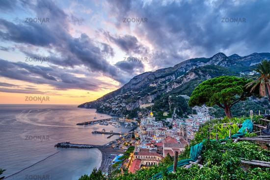 The beautiful coastal village of Amalfi in Italy at sunset