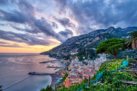 The beautiful coastal village of Amalfi in Italy at sunset