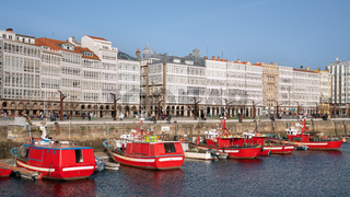 Harbour waterfront, A Coruna, Galicia, Spain