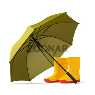green umbrella and gumboots