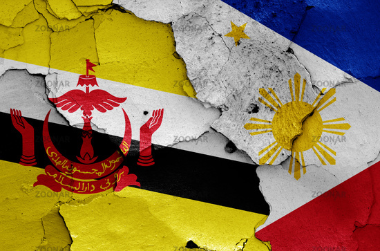 flags of Brunei and Philippines painted on cracked wall