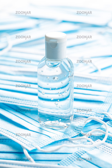 Antibacterial hand gel and face masks. Coronavirus protection.