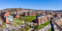 Aerial drone panorama of the Woodburn Hall at the university in Morgantown, West Virginia