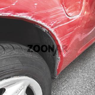 Car paint scratch close-up