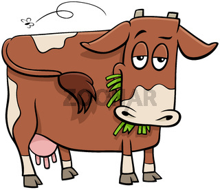 milker cow farm animal character cartoon illustration