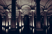 The Basilica Cistern, the largest of several hundred ancient cisterns that lie beneath the city of Istanbul, Turkey