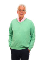 Senior man in green jumper