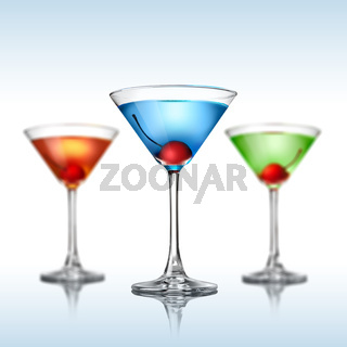 Different martini color cocktails on white