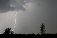 Gewitter ueber dem Braunkohletagebau-Nochten / Thunderstorm over the brown coal daylight mine Nochten / Braunkohletagebau-Nochten  -  Sachsen
