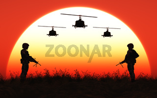 Soldaten im Sonnenuntergang