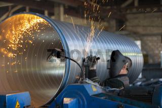 Belarus, the city of Gomel, April 30, 2019. Ventilation plant. Manufacturing of ventilation metal pipes. Metal welding. Metal industry.