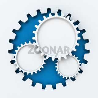 Gear paper cutout infographic with copyspace