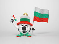 Soccer character fan supporting Bulgaria