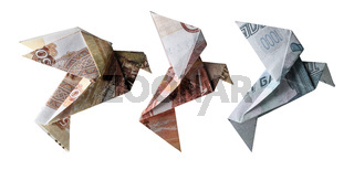 Russian rubles in the form of birds. Flying on a white background