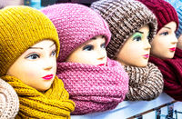 Woolen knitted caps and scarves