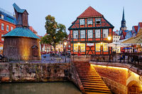 Hanseatic port with the wooden treading crane in the evening, Stade, Lower Saxony, Germany, Europe