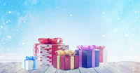 christmas presents. light blue winter design background and christmas gifts 3d illustration