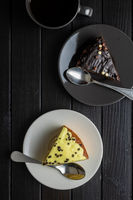 Piece of lemon and chocolate cake