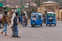 blue color auto rickshaw known as Tuk tuk, Ethiopia