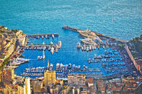 Monte Carlo luxury yacht harbor aerial view