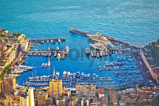 Monte Carlo luxury yacht harbor aerial view