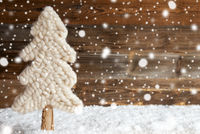 Fabric Christmas Tree, Snow, Copy Space, Snowflakes