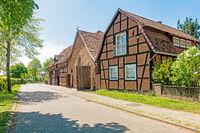 Historic barns in village Ahlden, Lower Saxony, Germany