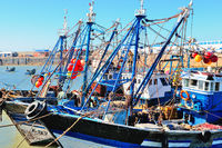 Sea fishing boats Essaouira Morocco