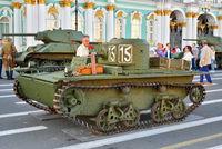 Soviet small amphibious tank T-38 at the Palace square