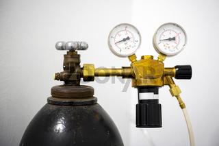 Gas welding equipment on a tank