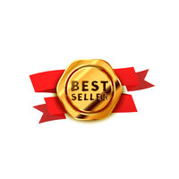 Glossy golden badge with red tape, best seller icon on white