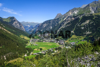 Pralognan la Vanoise town and mountains landscape in French alps