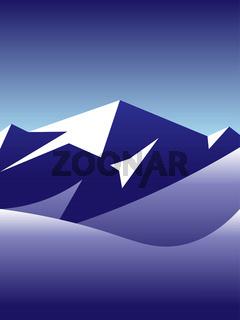 landscape illustration of arctic snowy mountains
