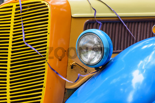 Detail of old colorful and stylized car