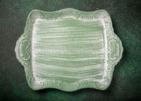 Vintage green wooden tray