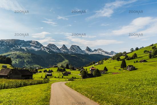 Pastureland with view of the Churfirsten, Toggenburg, Canton of St. Gallen, Switzerland