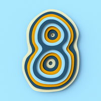 Colorful paper layers font Number 8 EIGHT 3D