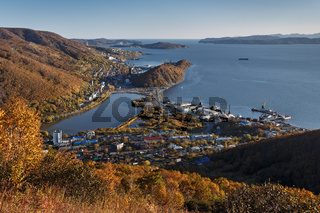 View of Petropavlovsk-Kamchatsky City, Avacha Bay and Pacific Ocean. Russia Far East