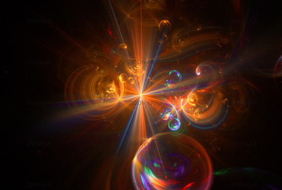 Abstract multi-colored computer generated fractal cosmos background