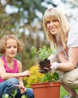 Mädchen und Mutter pflanzen Blumen im Garten