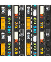Top view of traffic jam with lots of realistic cars on highway, seamless pattern