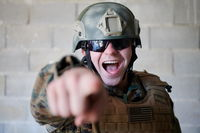 angry soldier pointing