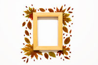 Wooden Frame With Colorful And Bright Autumn Leaf Decoration, Copy Space