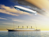 Ocean Liner and Airship