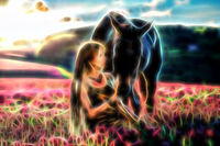 Portrait woman and horse outdoors. Woman hugging a horse, fractal effect.