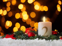 Candle of the second Advent burns