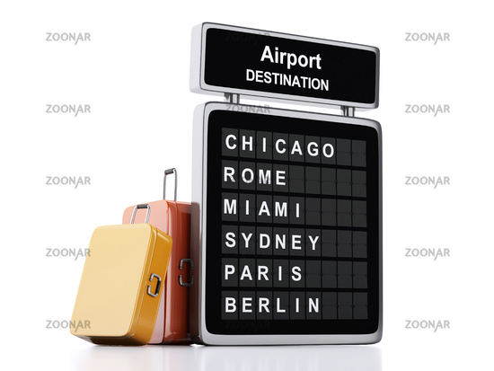 3d airport board and travel suitcases on white bac