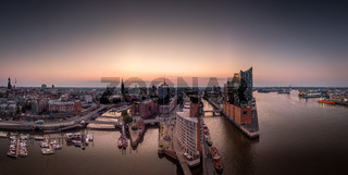 Panorama of the Hafencity and Speicherstadt in Hamburg in the morning